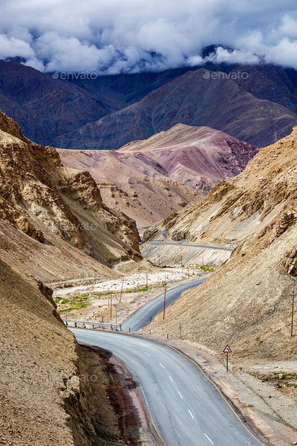 Srinagar Leh national highway NH-1 in Himalayas. Ladakh, India - Stock Photo - Images