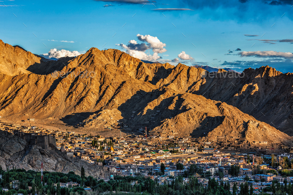 Aerial view of Leh town in Ladakh - Stock Photo - Images
