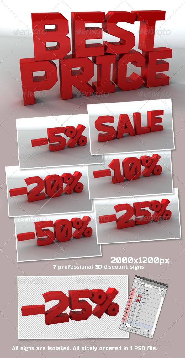 3D Sale Signs Pack - Text 3D Renders