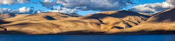 Lake Tso Moriri in Himalayas. Ladakh, India - Stock Photo - Images
