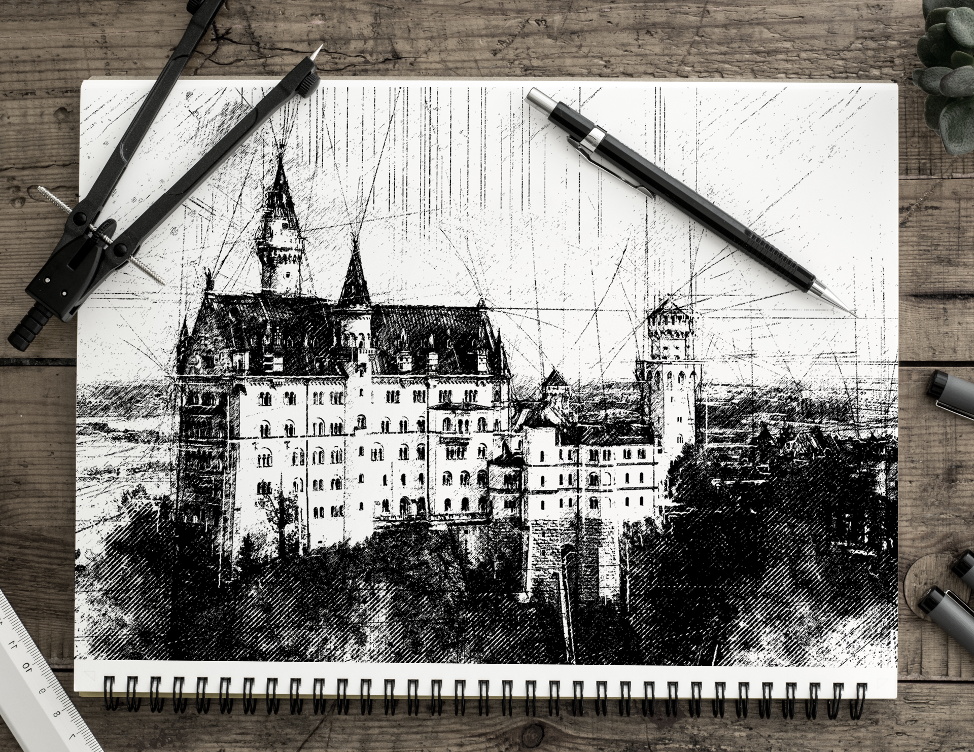 02 pencil sketch automatic architecture art artwork brush real realistic fx photoshop action script add on extension animated cc cs png