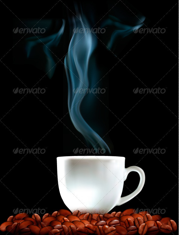 Background with Cup of Coffee and Coffee Grains - Food Objects