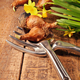 Daffodils and bulbs with tools on wood table - PhotoDune Item for Sale
