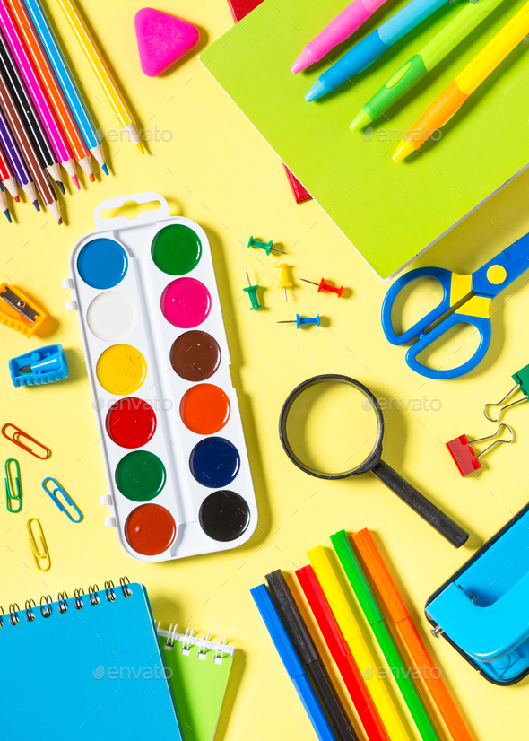 School and office sstationery on yellow background - Stock Photo - Images