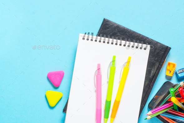 School and office supplies or stationary - Stock Photo - Images