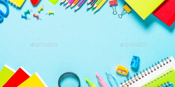 School and office supplies on blue background - Stock Photo - Images