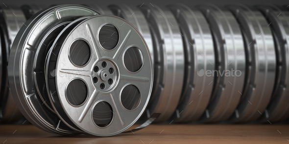 Video, cinema, movie, multimedia concept. A row of vintage film - Stock Photo - Images