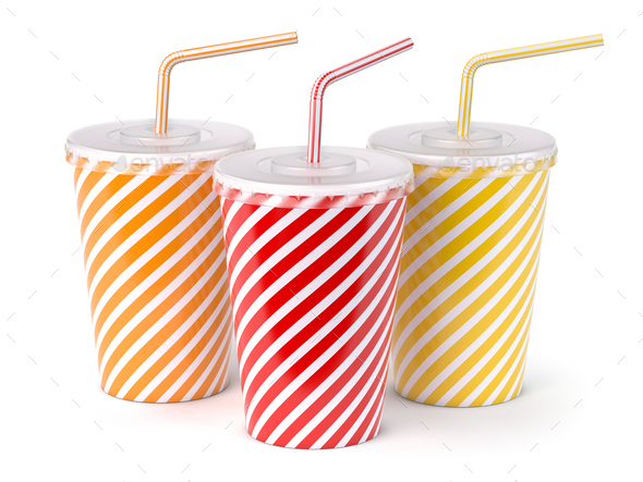 Red striped paper or plastic glass with  soda water, drinking st - Stock Photo - Images