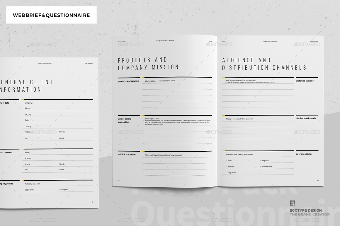Web Brief Questionnaire By Egotype Graphicriver