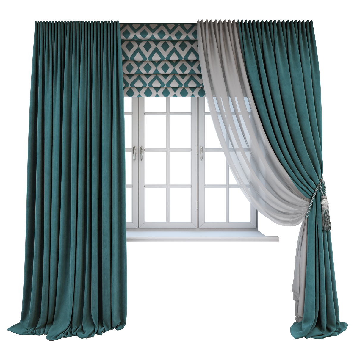 Turquoise Curtains, A Roman Shade With A Geometric Pattern