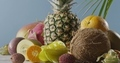 Vertical panoramic upward slow motion with composition from fresh natural exotic fruits on a wooden - PhotoDune Item for Sale