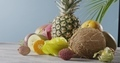 Panoramic video around composition of fresh natural ripe exotic fruits on a woodwn gray table on a - PhotoDune Item for Sale