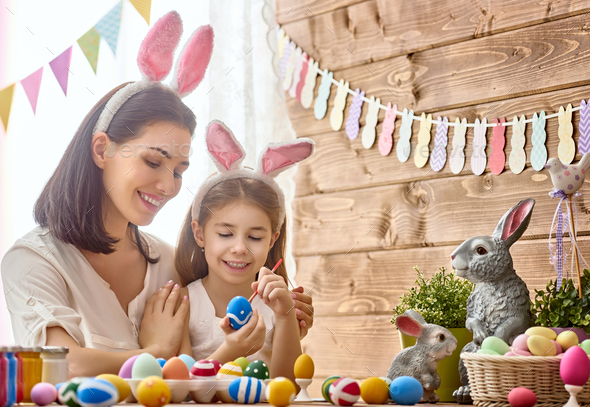 family preparing for Easter - Stock Photo - Images
