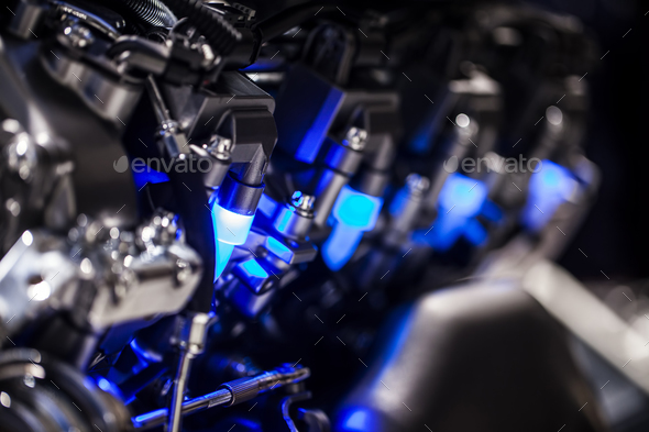 Modern Technology Cars Motor Engine Macro - Stock Photo - Images