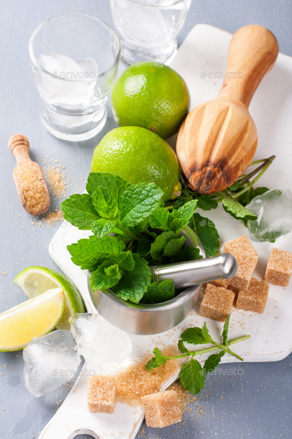 Ingredients for making mojitos - Stock Photo - Images