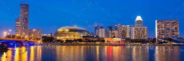 Singapore cityscape night - Stock Photo - Images