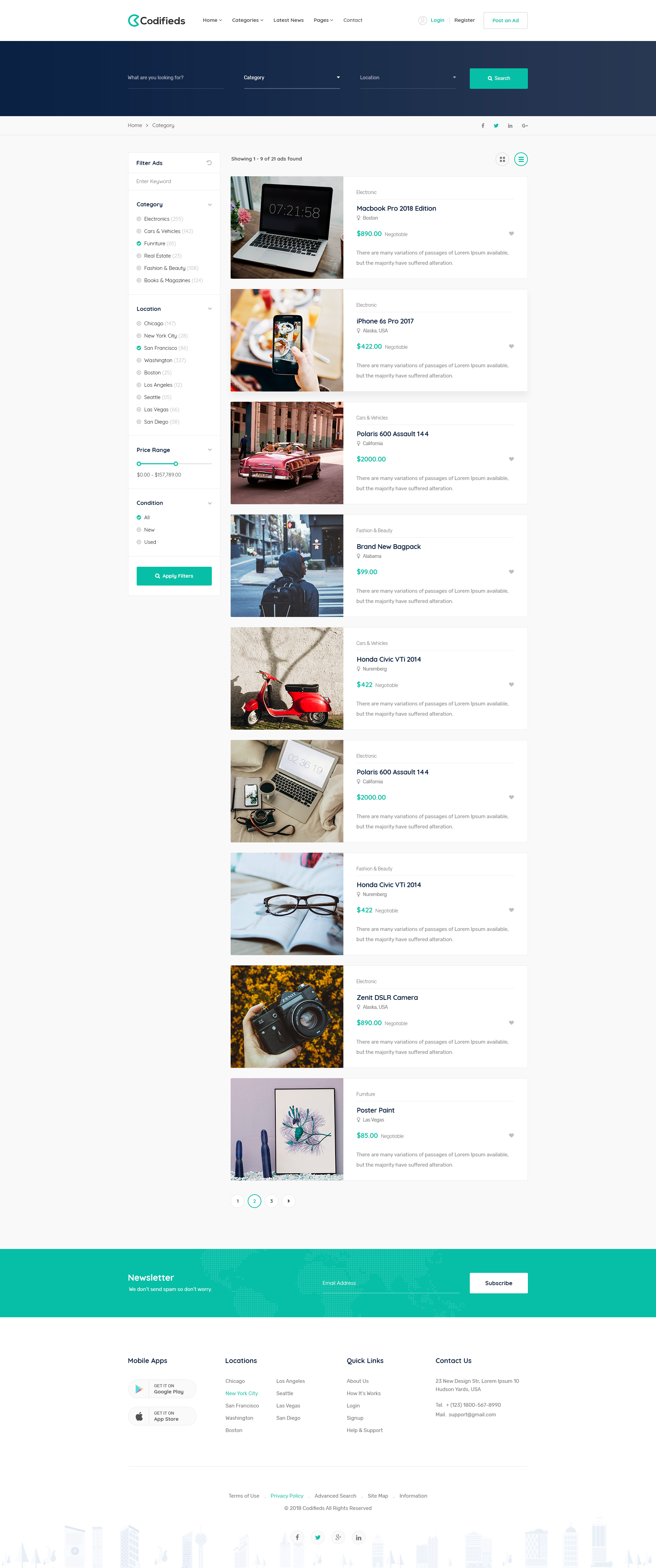 Codifieds - Classified Ads PSD Template
