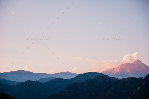 Beautiful sunset in the mountains landscape. - Stock Photo - Images