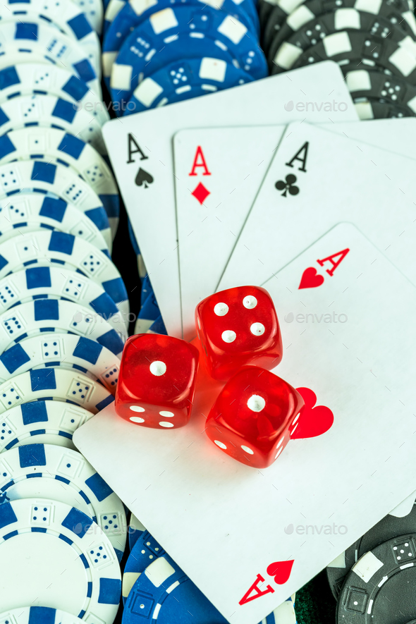 Gambling Red Dice Poker Cards and Coins Stock Photo by okanakdeniz