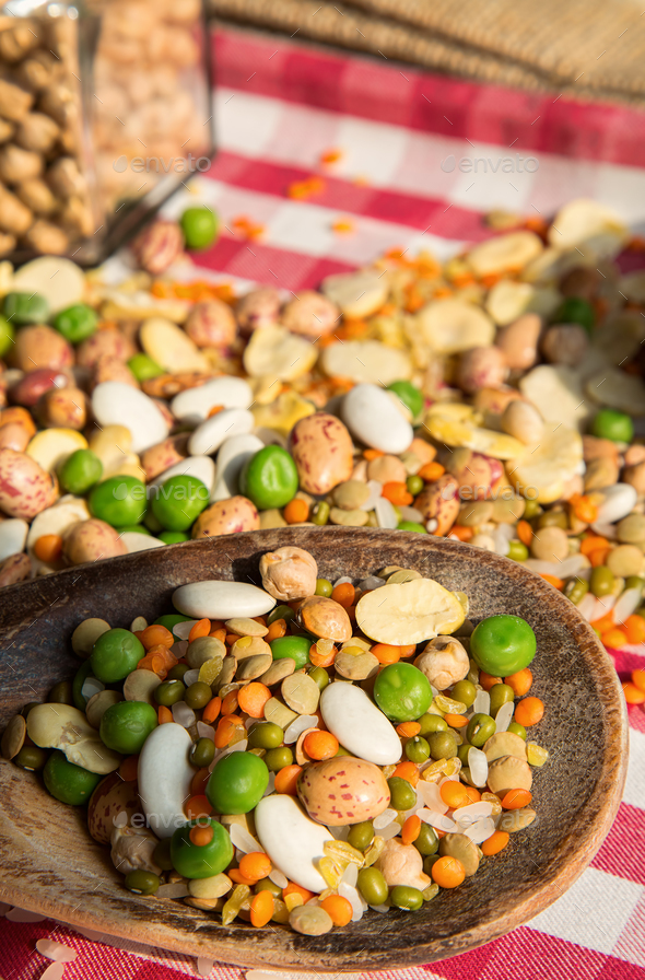 Healthy Vegetarian Raw Food Legumes - Stock Photo - Images