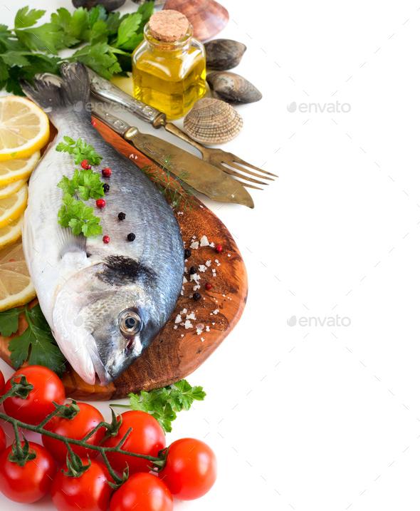 Fresh dorado fish and seafood - Stock Photo - Images