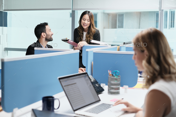 People Coworkers Meeting And Speaking For Business In Coworking Office - Stock Photo - Images
