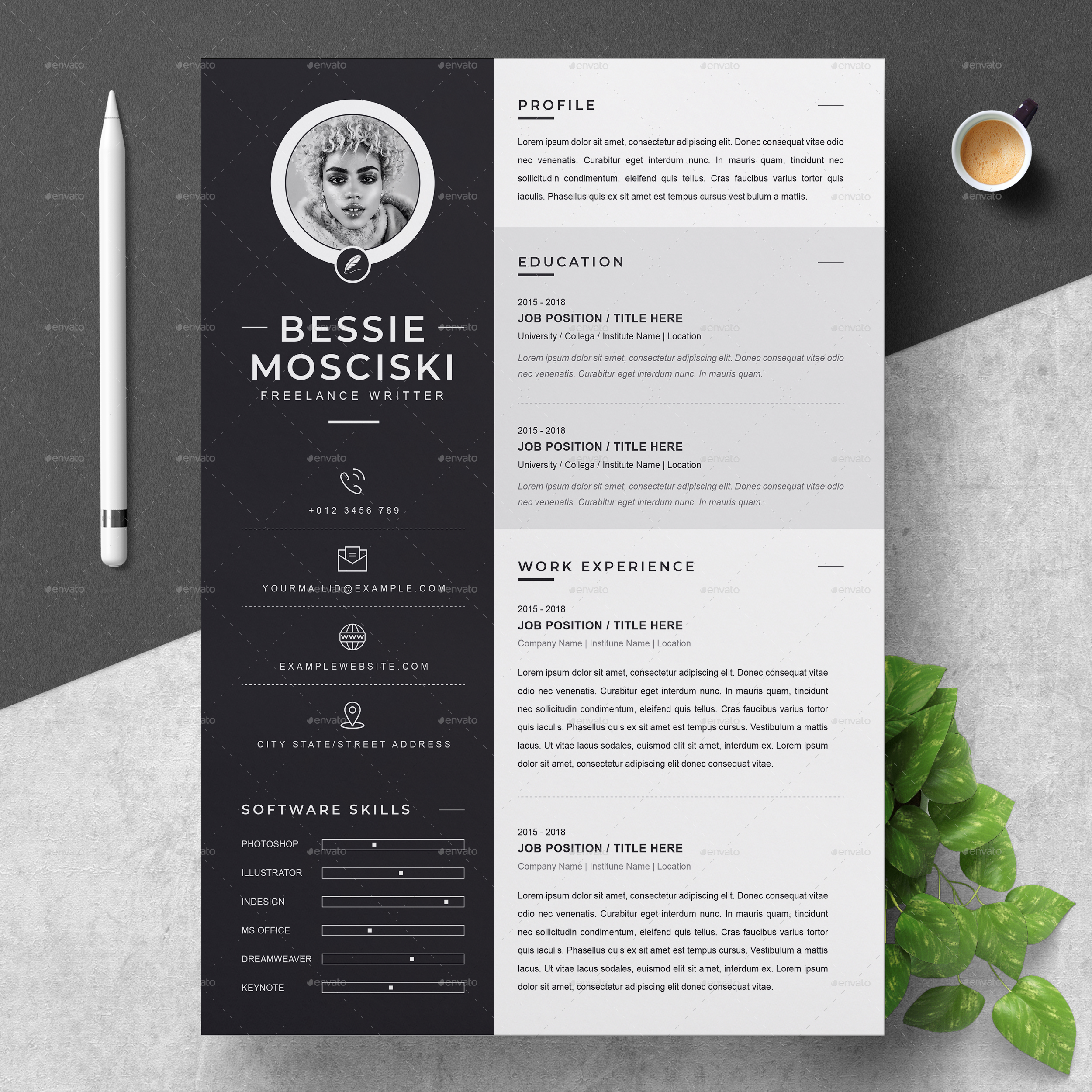 Resume Cv Design Template With Cover Letter Ms Word Apple