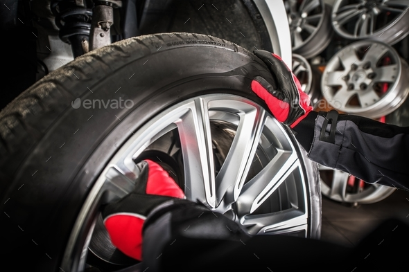 Balancing Vehicle Wheels - Stock Photo - Images