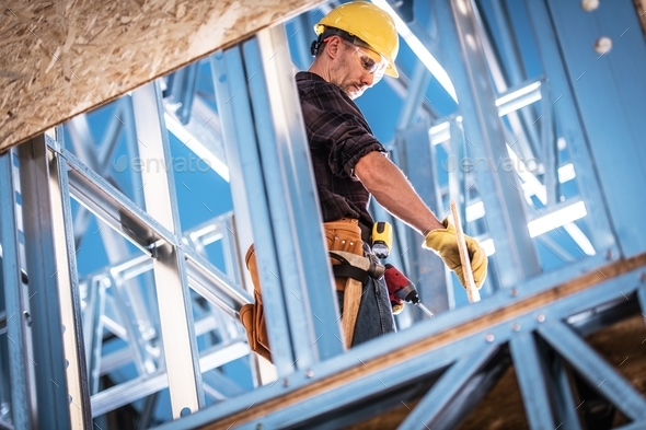 Worker and the Construction - Stock Photo - Images