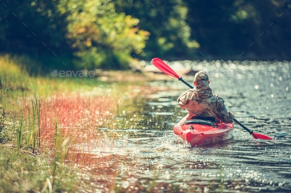 Kayaking Down the River - Stock Photo - Images