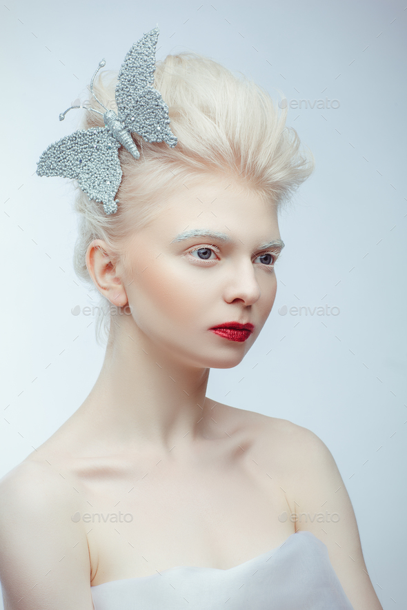 beautiful albino girl with red lips on white background - Stock Photo -  Images 954e1d783