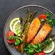 Grilled salmon fish steak, asparagus, tomato and corn salad - PhotoDune Item for Sale