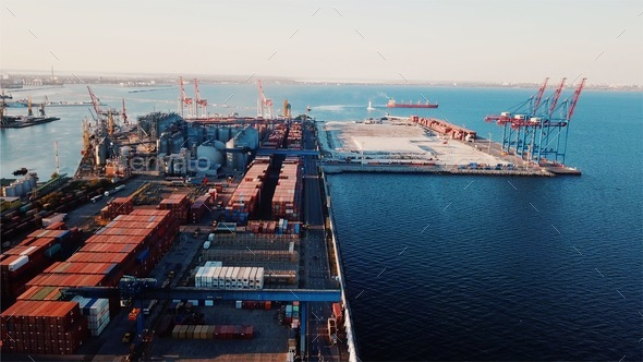 Sea port from a bird's-eye view. Odessa, Ukraine - Stock Photo - Images