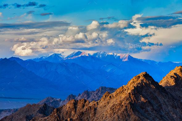 Himalayas mountains on sunset - Stock Photo - Images