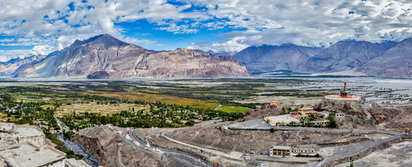 Panorama of Nubra valley in Himalayas - Stock Photo - Images