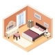 Isometric Modern Bedroom Furniture Room Cutaway - GraphicRiver Item for Sale