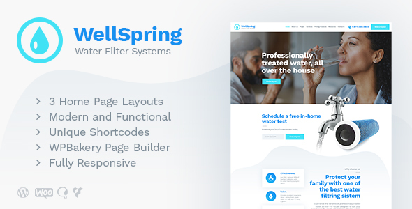 WellSpring | Aqua Filters & Drinking Water Delivery WordPress Theme