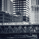 Black and white view of elevated railway train in Chicago, - PhotoDune Item for Sale