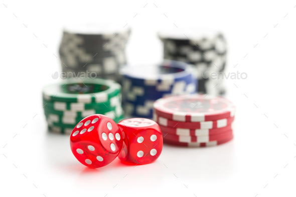 Dice and poker chips. - Stock Photo - Images