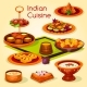 Indian Cuisine Lunch with Dessert Cartoon Icon - GraphicRiver Item for Sale