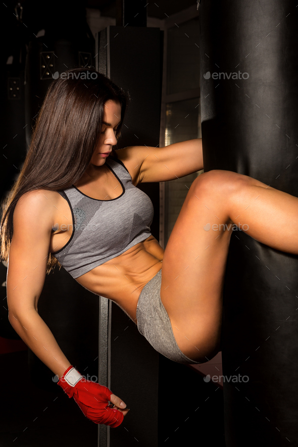 Beautiful female workout functional training. - Stock Photo - Images