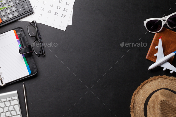 Business trip concept. Accessories on desk table - Stock Photo - Images
