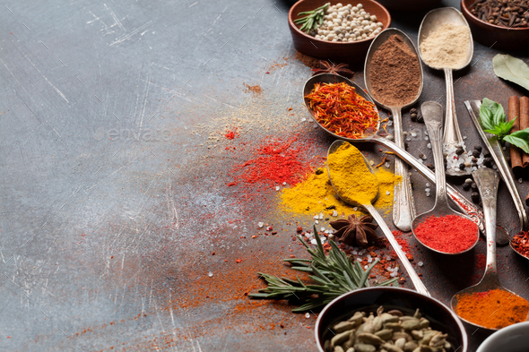 Set of various spices and herbs - Stock Photo - Images