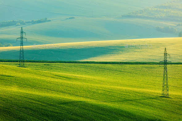 Moravian summer rolling landcsape - Stock Photo - Images