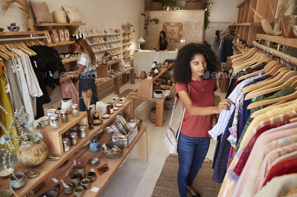 Customers Browsing In Independent Clothing And Gift Store - Stock Photo - Images