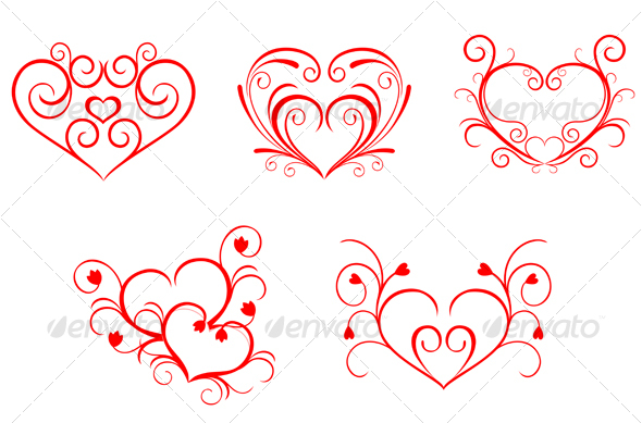 Red valentine hearts in floral style - Seasons/Holidays Conceptual