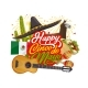 Mexican Sombrero and Guitar. Cinco De Mayo Holiday - GraphicRiver Item for Sale