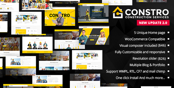 Constro – Construction Business WordPress Theme Free Download