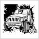 Offroad Car Monochrome Template for Labels - GraphicRiver Item for Sale
