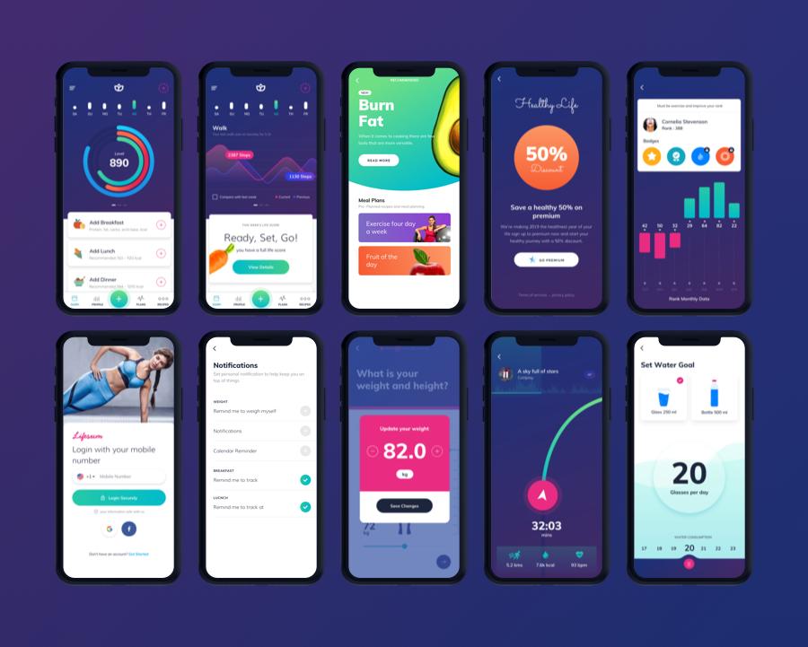 Lifesum Health and Fitness Mobile App - UI kit
